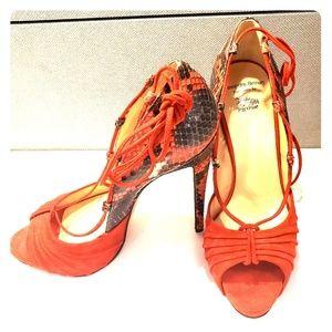 Alexandre Birman Red Python and Suede heels